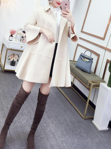 Image of Fashion Pure Colour Bell Sleeve Slim With Woollen Coat Blue s