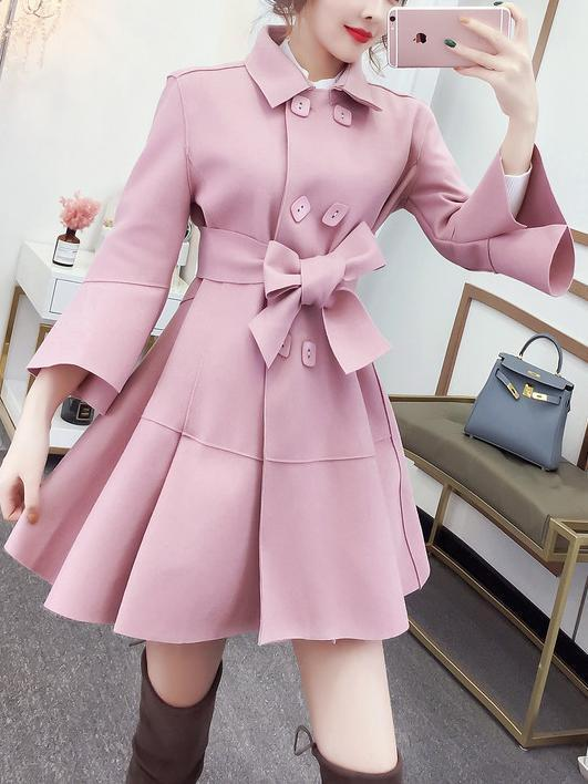 Fashion Pure Colour Bell Sleeve Slim With Woollen Coat Apricot m