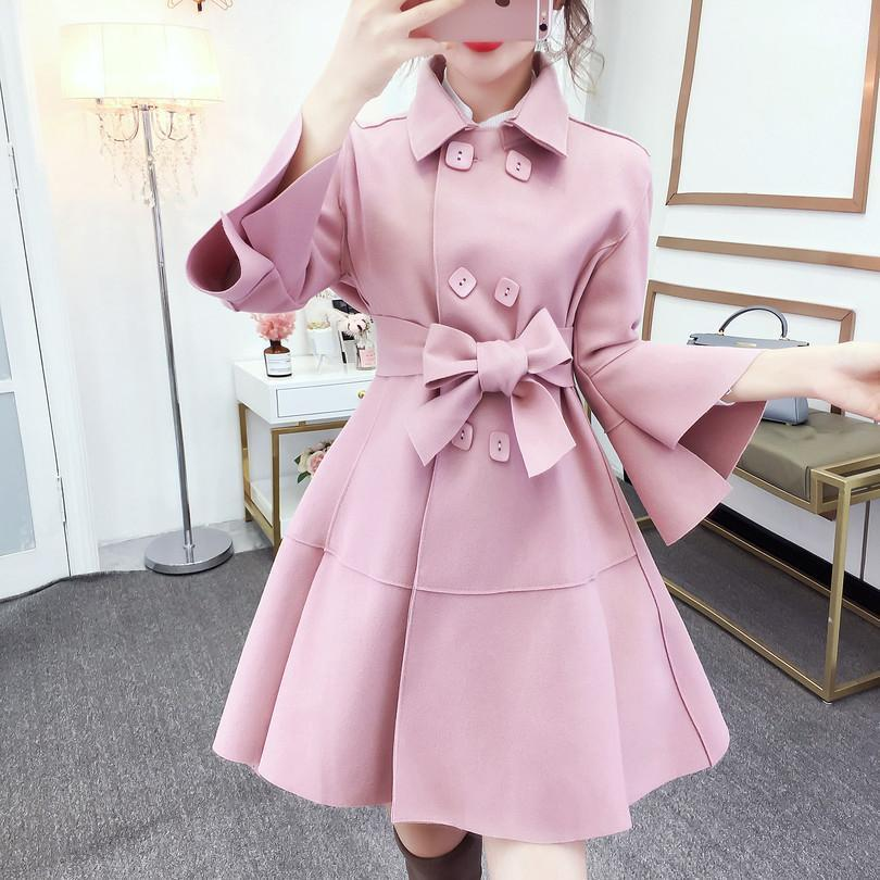 Fashion Pure Colour Bell Sleeve Slim With Woollen Coat Pink m