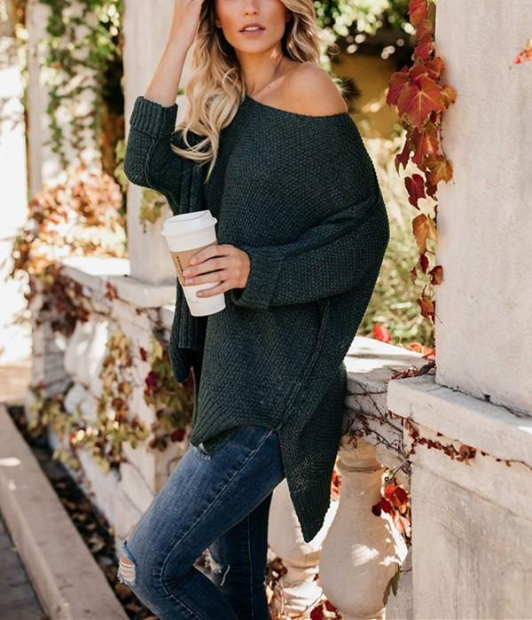 Casual Slim Sexy Loose   Off The Shoulder Sweaters Green m