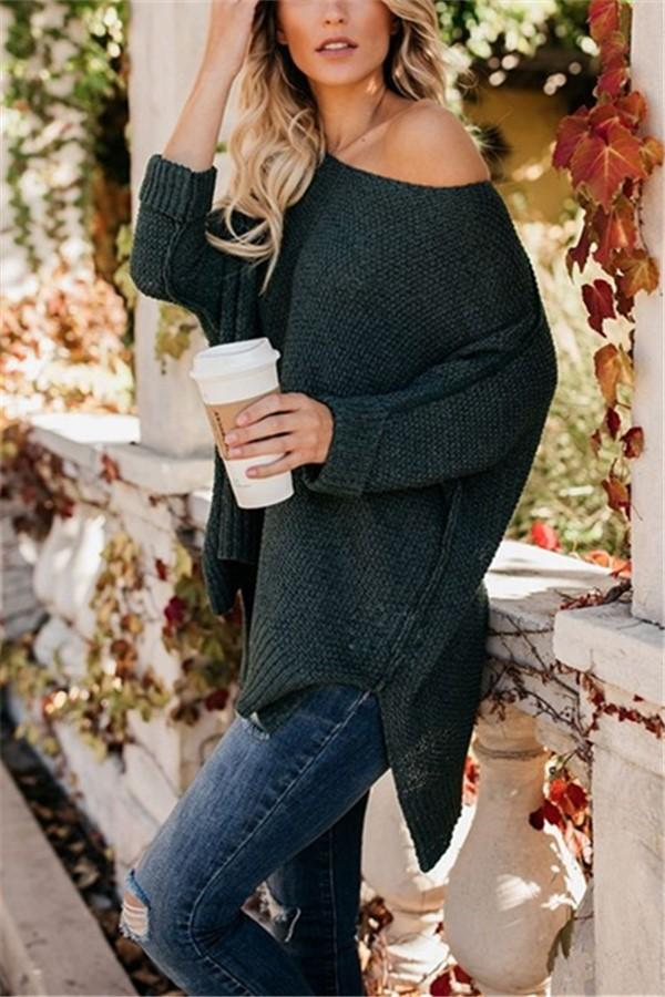 Casual Slim Sexy Loose   Off The Shoulder Sweaters Green s