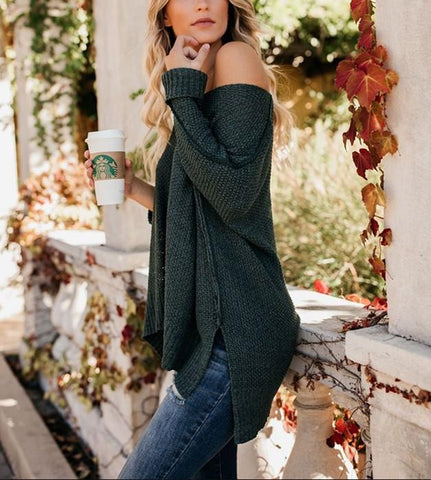 Image of Casual Slim Sexy Loose   Off The Shoulder Sweaters Green 2xl