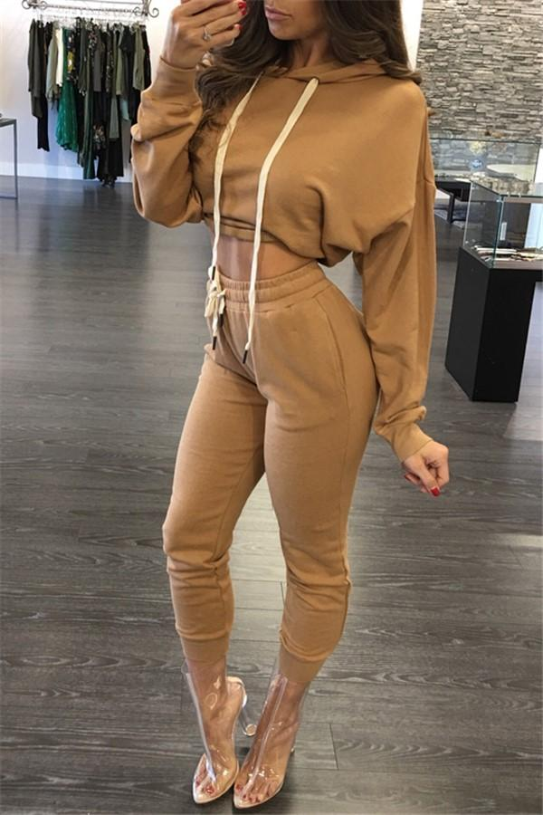 Casual Slim Sexy   Sports Hoodies Two Piece Suit Khaki s