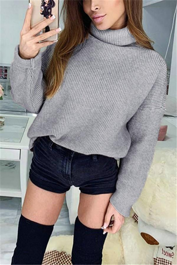 Casual Pure Color High   Necked Long Sleeved Knit Sweater Gray s