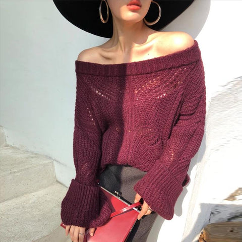 Image of Off-Shoulder Fashion Long Sleeve Pure Colour Sweater