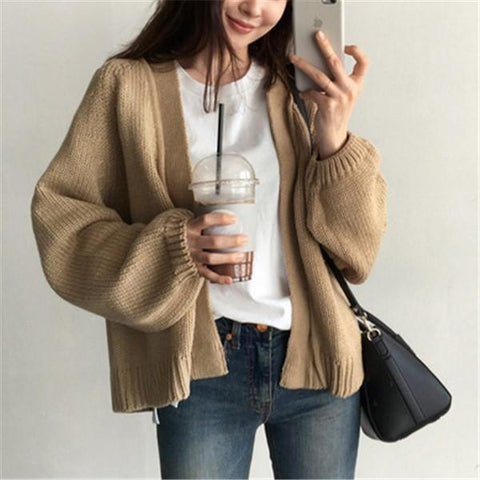 Image of Casual Pure Color   Loose And Short Knit Cardigan Jacket Coat