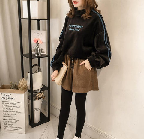 Image of Casual Letter Printed   Golden Fleece Hooded Sweater Brown 2xl