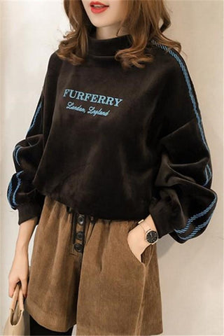 Image of Casual Letter Printed   Golden Fleece Hooded Sweater Brown m