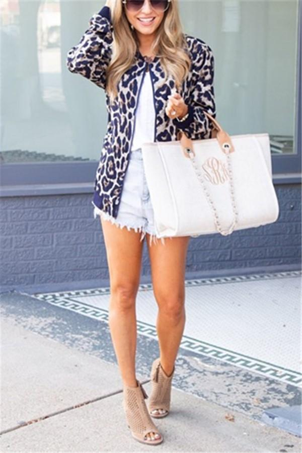 Fashionable Casual   Leopard Print Cardigan Jacket Coat Blue s