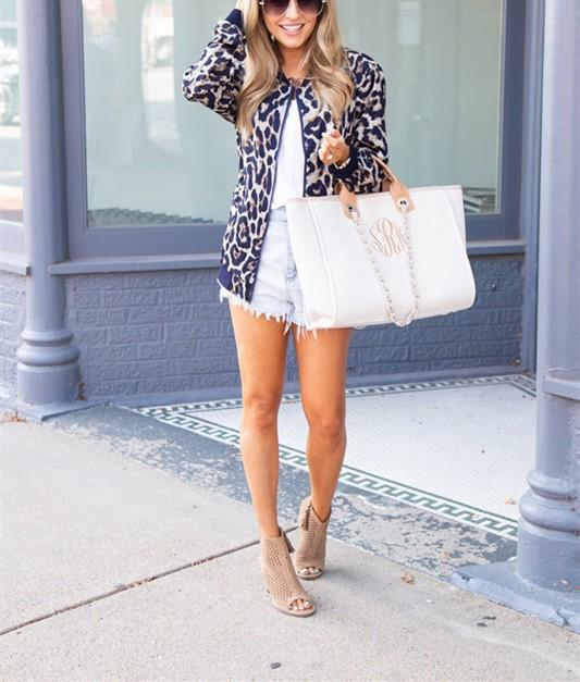 Fashionable Casual   Leopard Print Cardigan Jacket Coat Blue m
