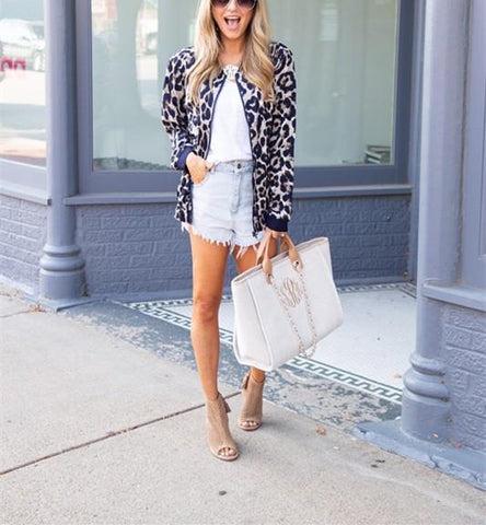 Image of Fashionable Casual   Leopard Print Cardigan Jacket Coat Blue l