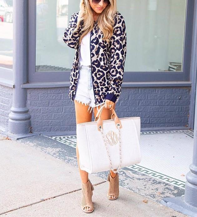 Fashionable Casual   Leopard Print Cardigan Jacket Coat Blue xl