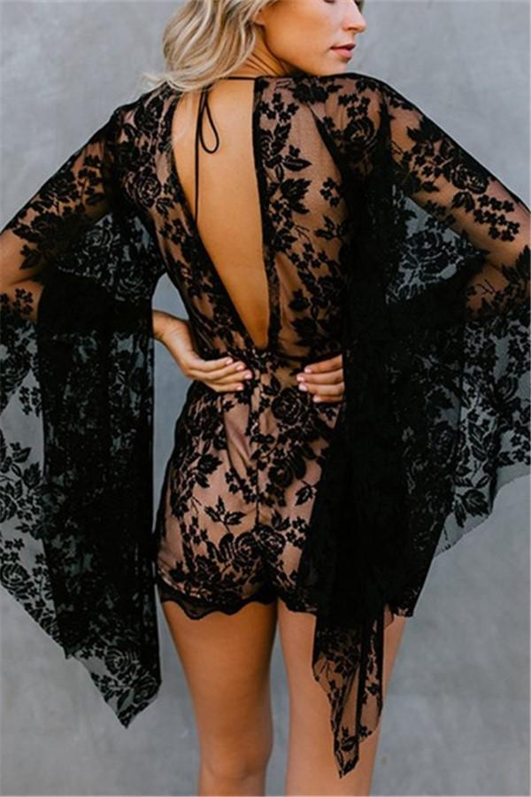 Sexy Deep V Neck Flared   Sleeve Lace Jumpsuit Black s