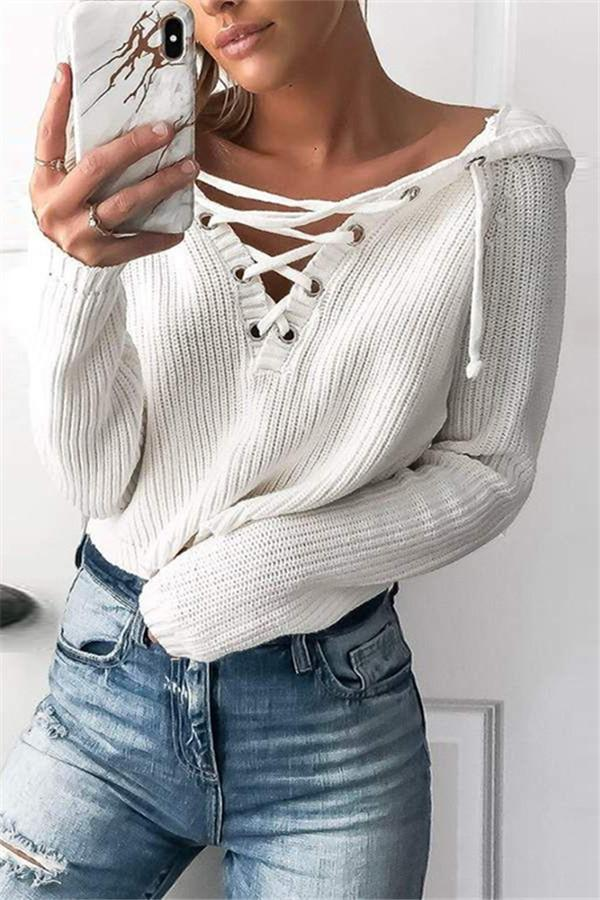 Casual Pure Color   Short V Neck Hooded Sweater White s