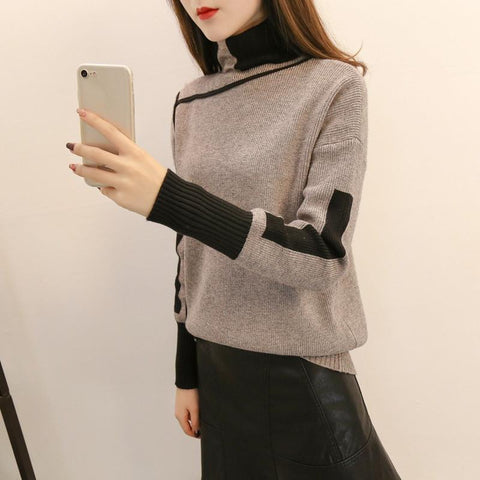 Image of Autumn and winter   high-collared loose bottom sweater Green l