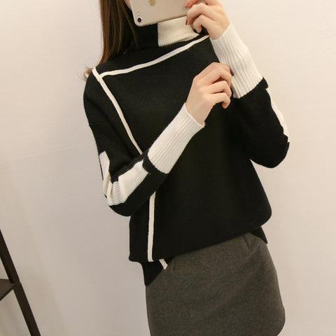 Image of Autumn and winter   high-collared loose bottom sweater Green s