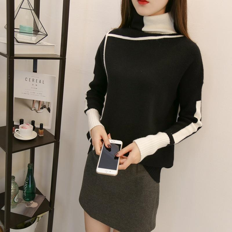 Autumn and winter   high-collared loose bottom sweater Black xl