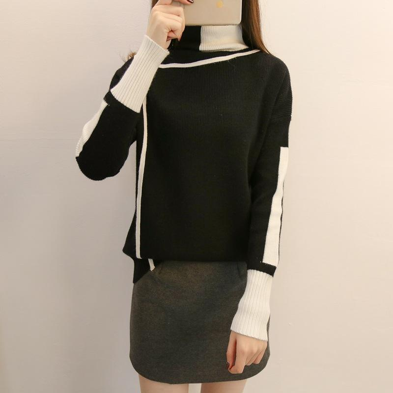 Autumn and winter   high-collared loose bottom sweater Black l
