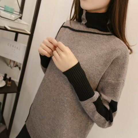 Image of Autumn and winter   high-collared loose bottom sweater Black s