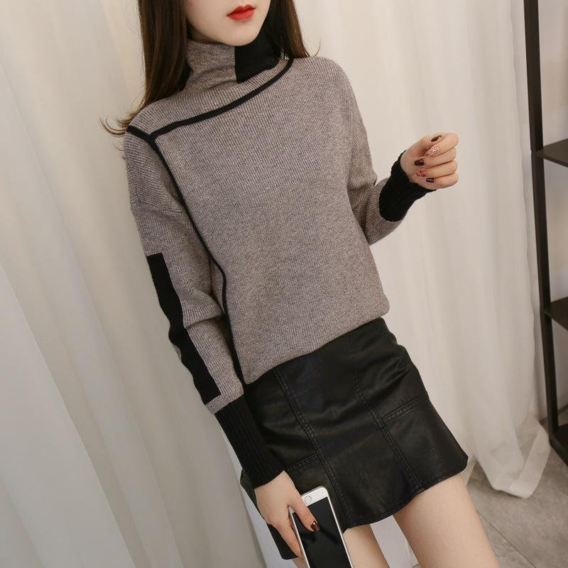 Autumn and winter   high-collared loose bottom sweater Green xl