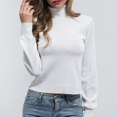 Image of Pure Color Slim Warm   Turtleneck Sweater Black m