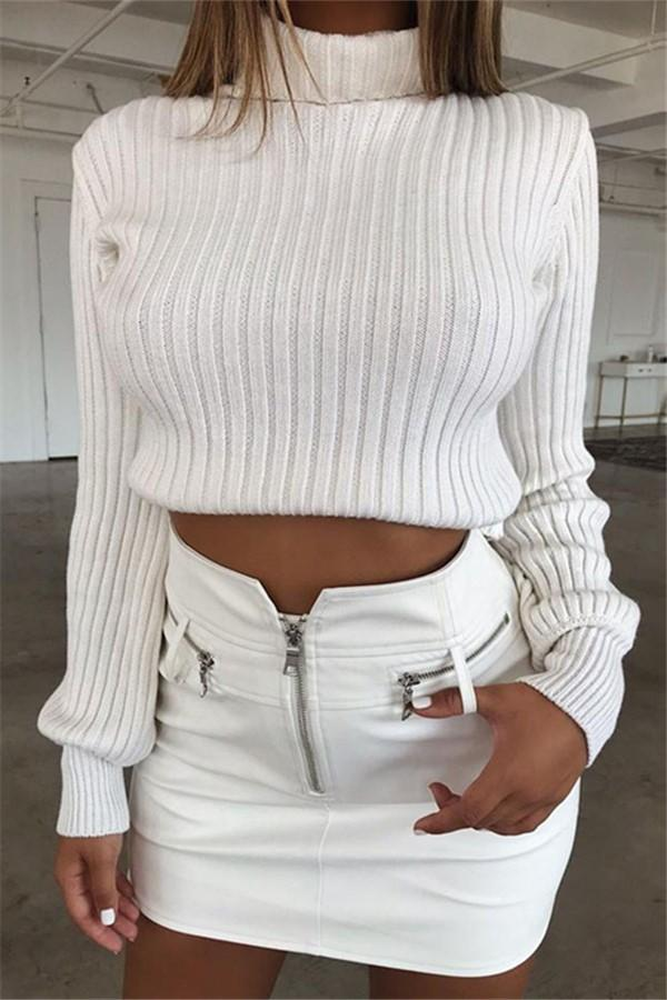 Pure Color Slim Warm   Turtleneck Sweater White s