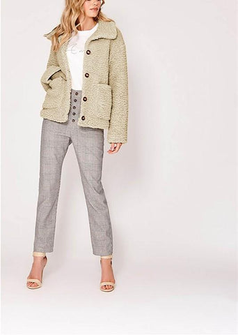 Image of Casual Warm Lamb Skin   Jacket Cardigan Coat Khaki l