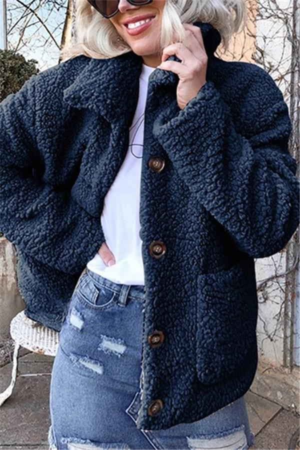 Casual Warm Lamb Skin   Jacket Cardigan Coat Dark Blue s