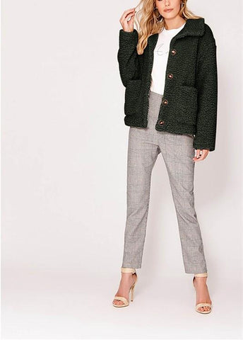 Image of Casual Warm Lamb Skin   Jacket Cardigan Coat Green l