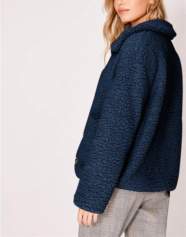 Casual Warm Lamb Skin   Jacket Cardigan Coat Dark Blue l