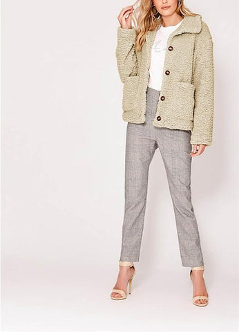 Image of Casual Warm Lamb Skin   Jacket Cardigan Coat Khaki m