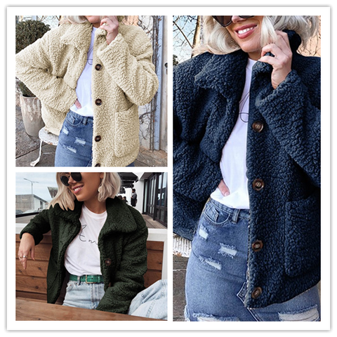 Image of Casual Warm Lamb Skin   Jacket Cardigan Coat Green s