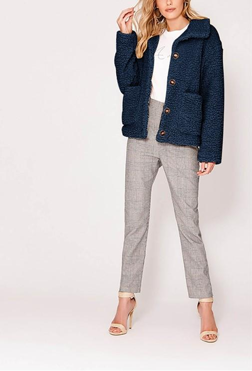 Casual Warm Lamb Skin   Jacket Cardigan Coat Dark Blue xl