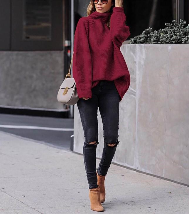 Casual Easy Turtleneck   Sweater Knitted Sweater Claret m