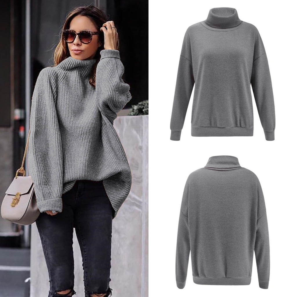 Casual Easy Turtleneck   Sweater Knitted Sweater Claret s