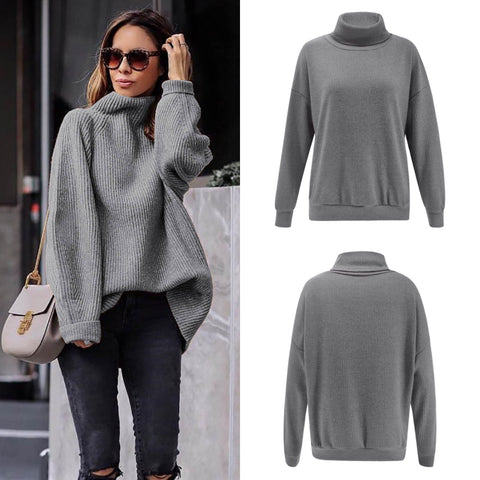 Image of Casual Easy Turtleneck   Sweater Knitted Sweater Claret s