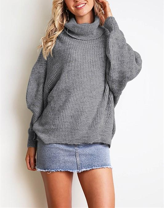 Casual Easy Turtleneck   Sweater Knitted Sweater Gray l