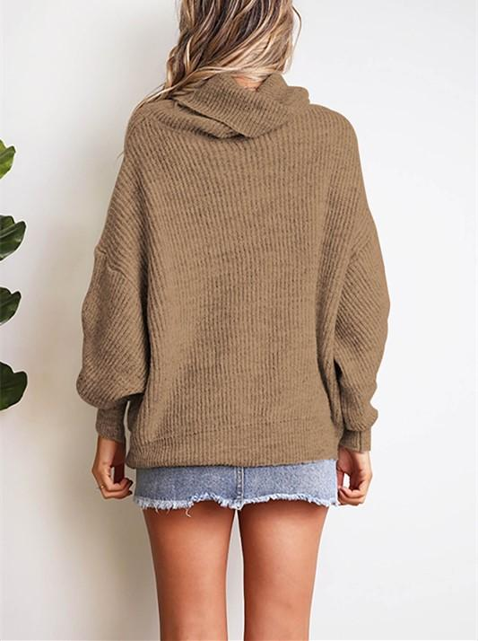 Casual Easy Turtleneck   Sweater Knitted Sweater Khaki 2xl