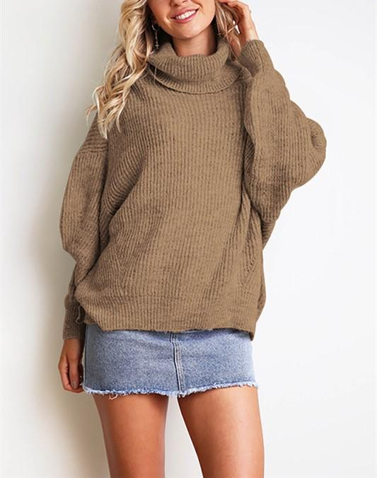 Casual Easy Turtleneck   Sweater Knitted Sweater Khaki l
