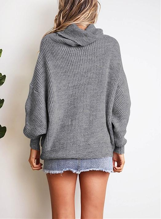 Casual Easy Turtleneck   Sweater Knitted Sweater Gray 2xl