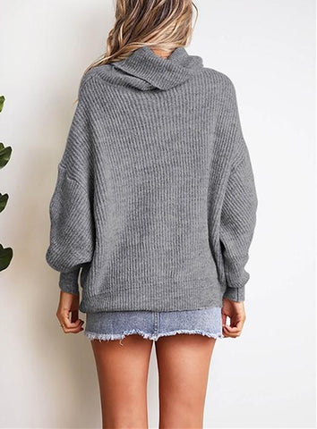 Image of Casual Easy Turtleneck   Sweater Knitted Sweater Gray 2xl