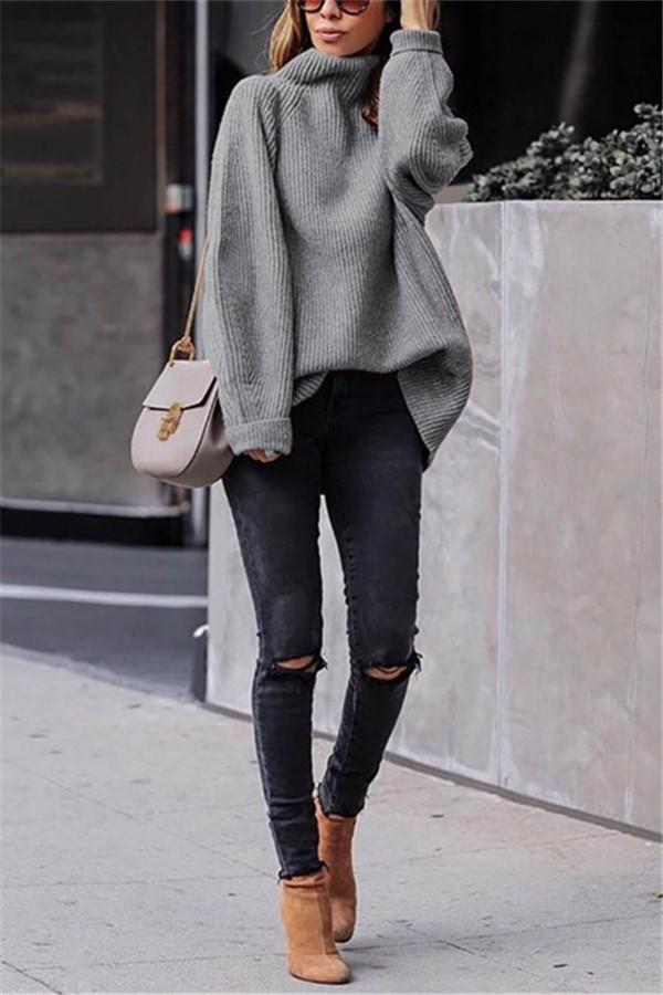 Casual Easy Turtleneck   Sweater Knitted Sweater Gray s