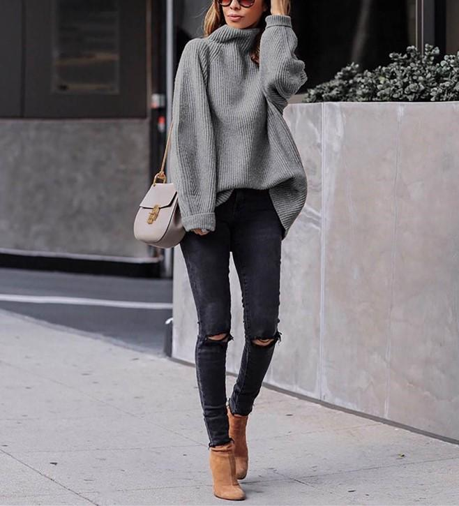 Casual Easy Turtleneck   Sweater Knitted Sweater Gray m