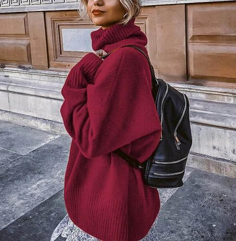 Image of Casual Easy Turtleneck   Sweater Knitted Sweater Claret xl