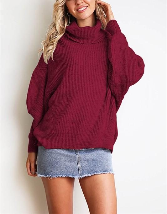 Casual Easy Turtleneck   Sweater Knitted Sweater Claret l