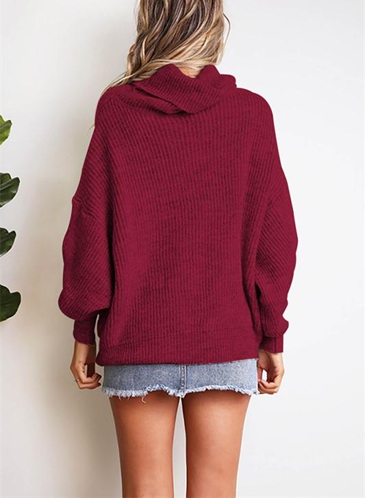 Casual Easy Turtleneck   Sweater Knitted Sweater Khaki s