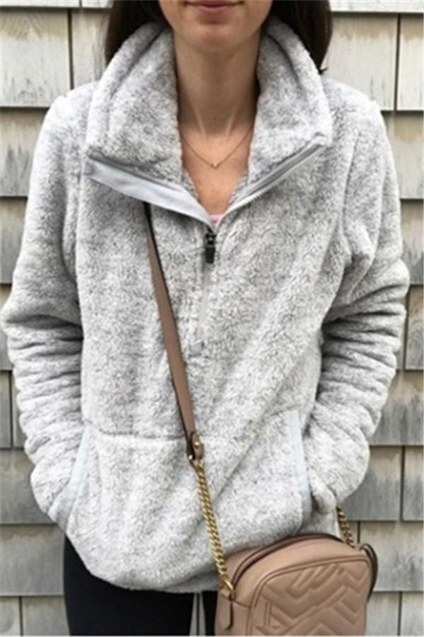 Casual Long Sleeve   Plush Hooded Sweater Gray s