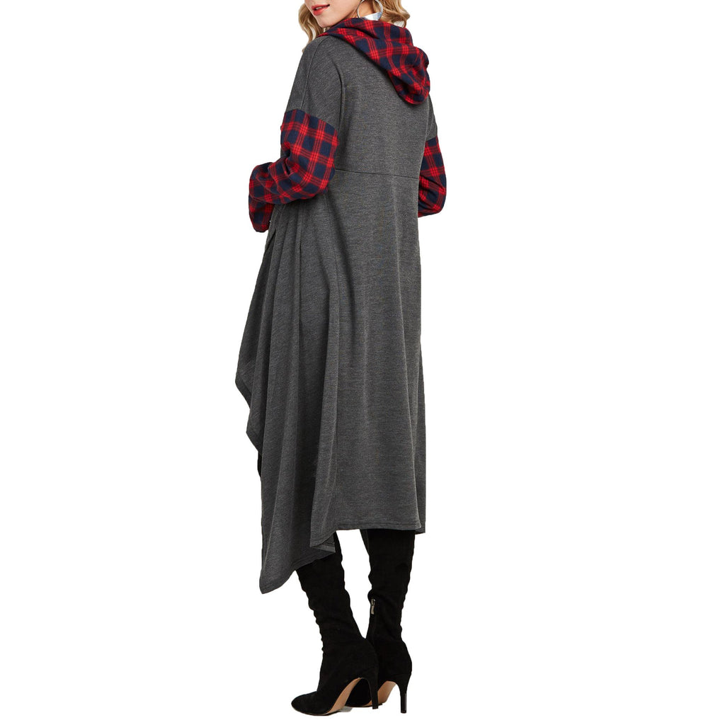 Casual Plaid Collage   Long Hooded sweater Gray xl