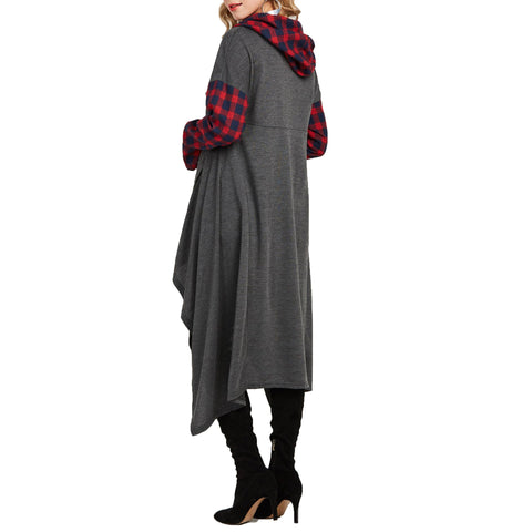 Image of Casual Plaid Collage   Long Hooded sweater Gray xl