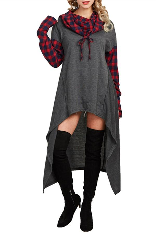 Casual Plaid Collage   Long Hooded sweater Gray s